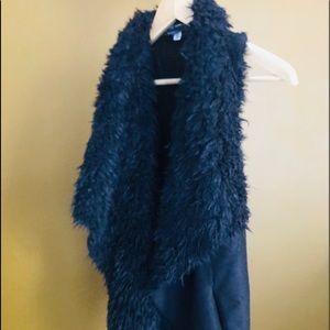 Long faux fur sweater vest